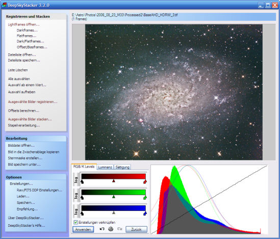 DeepSkyStacker Main Screen (Processing Tab)