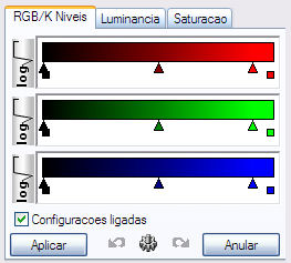 RGB levels adjustement tab